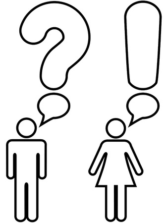 symbol: A symbol man and woman couple ask a question with a question mark and answer an exclamation mark in copyspace speech bubbles.