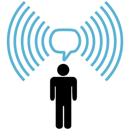 other space: A wifi symbol person communicates blog or other info over wireless broadband network copy space.