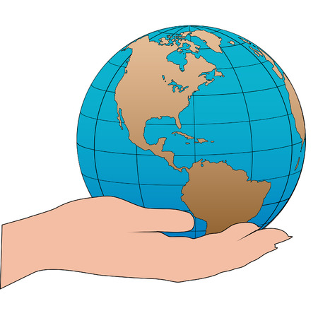 A cartoon persons hand holds the earth as a globe showing the western hemisphere. Stock Vector - 5663049