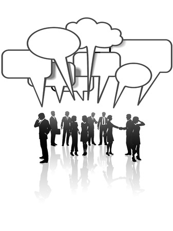 communication: A group or team of business people talk and interact in many speech bubbles.
