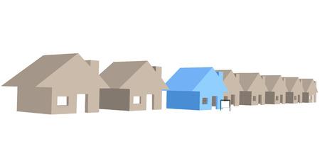 Een teken voor een uitzonderlijke huis te koop op straat rij van 3D-huizen.