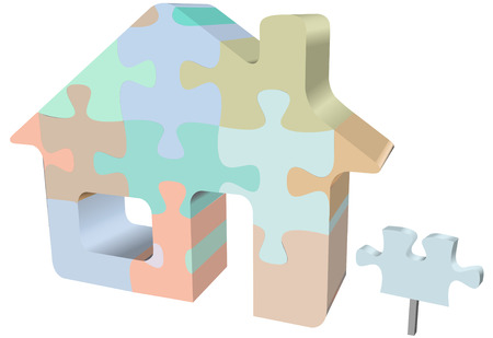 art piece: A colorful house jigsaw puzzle as a symbol of homes, real estate, construction problems and solutions.