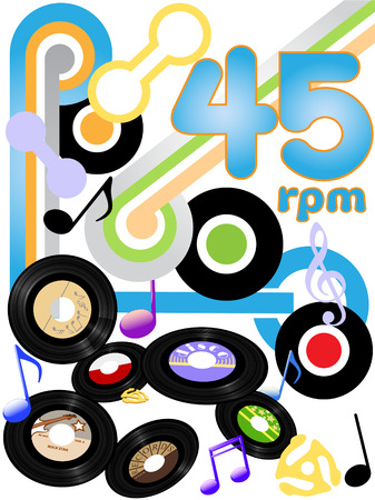 Classic rock solid gold oldies on 45 RPM rock and roll music records. Stock Vector - 5663050