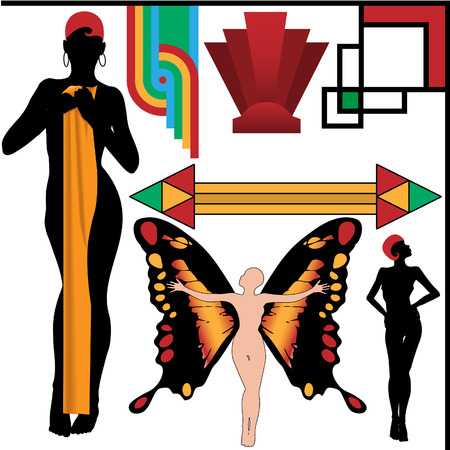 art deco design: Set of 4 Art Deco People Poses and four vintage retro Abstract Design Elements.