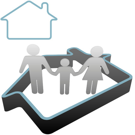 into: Put a family into a home - 3D symbol people stand safe inside a house outline. Illustration