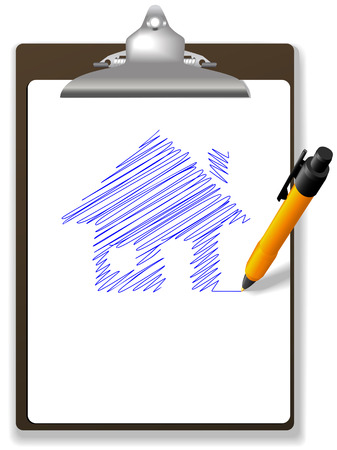 draw a sketch: An orange ball point pen drawing plan or sketch of a house in blue ink on white copy space of a page of paper on a clipboard.