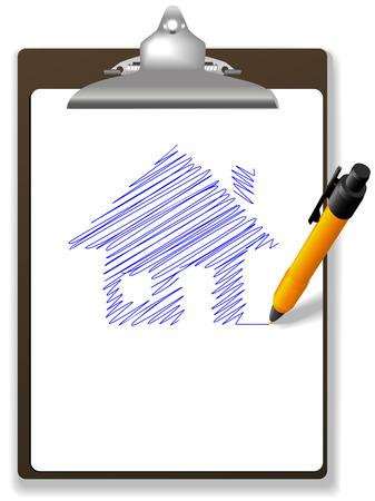 Eine orange Kugelschreiber-Zeichnung Plan oder Skizze eines Hauses in blauer Tinte auf weißen Kopie Raum einer Seite Papier in eine Zwischenablage.  Standard-Bild - 5733951