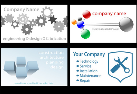 Four technology business designs in standard business card format for design, engineering, research tech companies, ready to print on white. Stock Illustratie