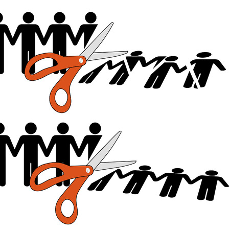 downsizing: Symbol of firing workers or disuniting people by cutting off a row of people into pieces.