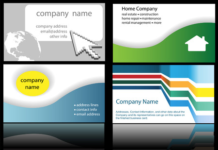 Four abstract and internet website home and technology business designs in standard business card format, ready to print. Illustration