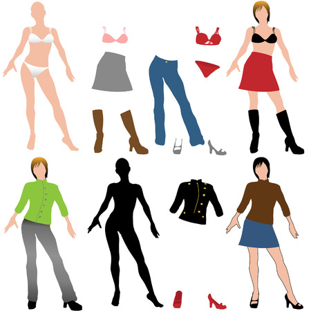 Set of doll cutout style models and fitting casual clothes to mix match and mash up.