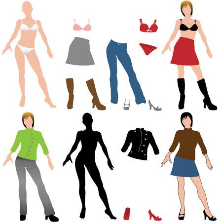 faldas: Conjunto de modelos de estilo de mu�eca de recorte y ajuste ropa casual para mezclar partido y mash up.