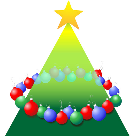 decorate: A ring of ornaments decorate a tree shape to celebrate a Merry Christmas.