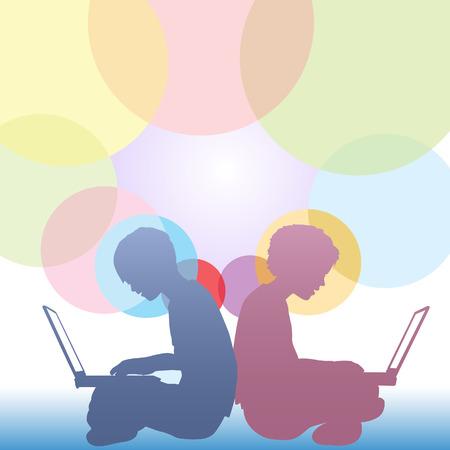 assis par terre: Boy et les enfants fille assise sur le sol en utilisant des ordinateurs portables dans un contexte de copyspace cercles color�s. Illustration