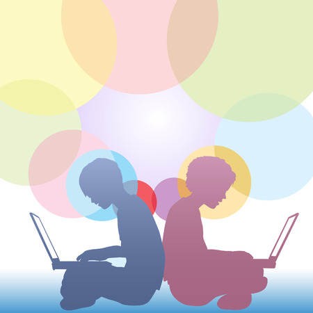 Boy and girl kids sitting on the ground using laptop computers against a background of colorful circles copyspace. Vectores