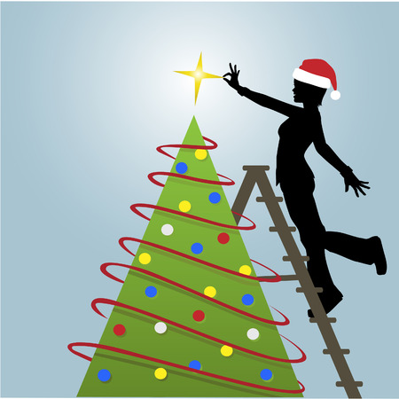 Silhouette woman decorates a Christmas Tree with a star and other decorations. Ilustração