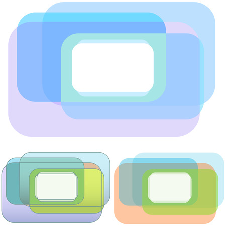 rounded rectangle: A set of 3 Rounded Rectangle Overlap abstract background designs for your copy space needs.