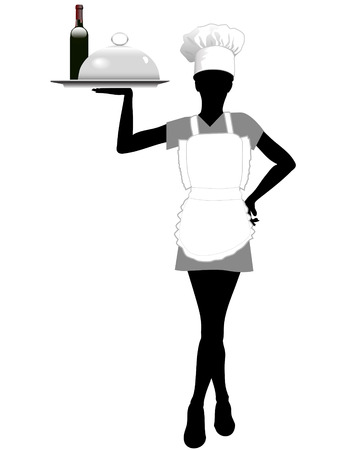 A female server in an apron and chef hat serves a serving tray with food and wine.