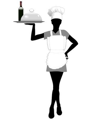 server: Un server femminile in un grembiule e cappello da cuoco serve un vassoio con il cibo e il vino.