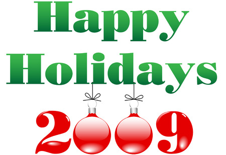 Shiny Red and Green Merry Christmas Happy Holidays and Happy New Year 2009 Ornaments Vector