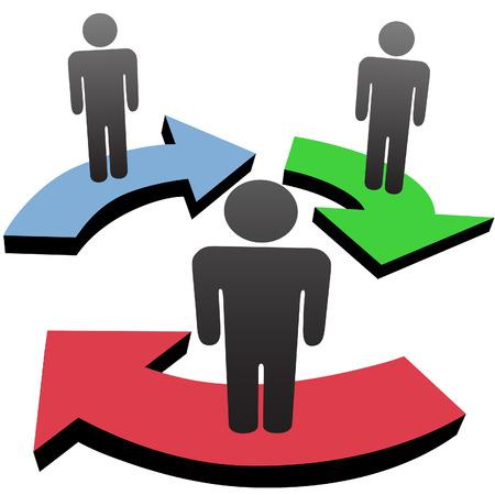 workflow: Un groupe de 3 personnes s'associer et de communiquer dans workflow business team ou sociale fl�ches Media Network. Illustration