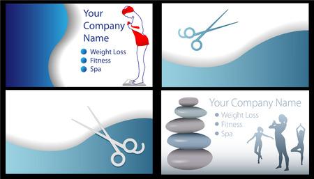 Se diseña el conjunto de 4 tarjetas de pérdida de peso de salón de Fitness Beauty Spa. Es útil para otros fondos.  Foto de archivo - 5817636
