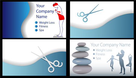 salon background: Set of 4 business Fitness Beauty Spa Salon Weight Loss card designs. Useful for other backgrounds.