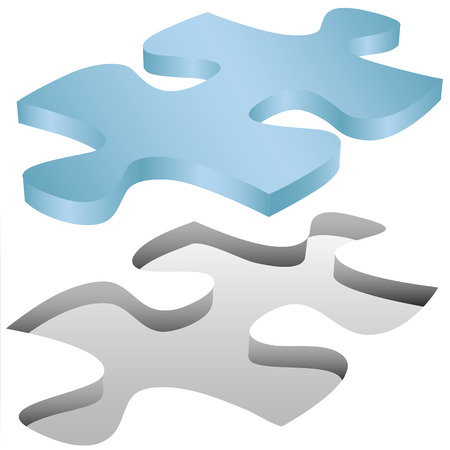fits in: A Jigsaw Puzzle piece shape fits in a space on white as a symbol of problem solution. Illustration