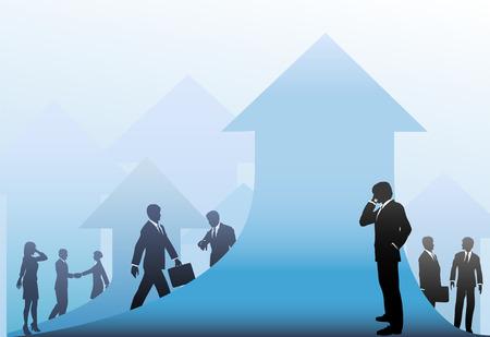 Business men and women make corporation progress in an arrows up design.