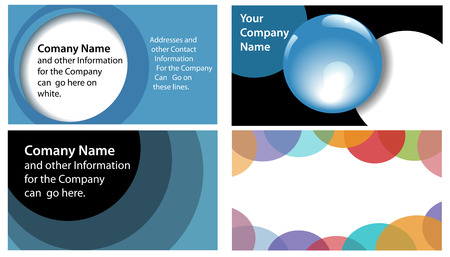 Abstract Circles and Spheres theme in company business card designs 4 up format. Useful for other backgrounds. Stock Vector - 5817637