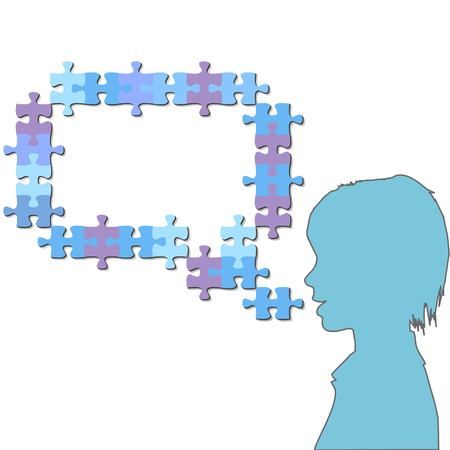 talking: A puzzling Girl talks in a  speech bubble copy space of jigsaw puzzle pieces.