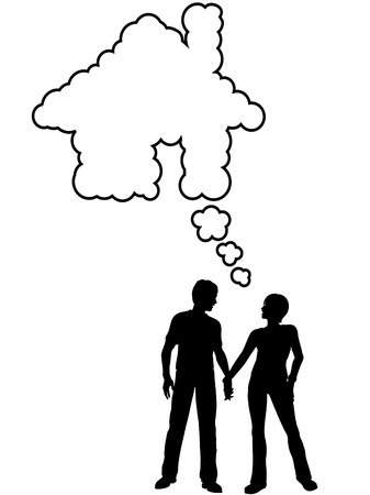 A couple hold hands and talk about their dream home in a house shaped speech bubble. Vector