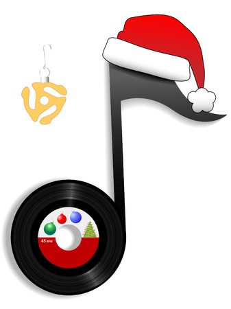 Jingle bell time is a swell time for an oldies record in a santa hat for a classic rock and roll Christmas.