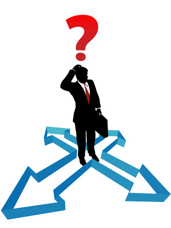 A business man faces indecision inside a set of direction arrows. Vectores