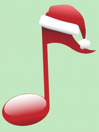 A red Musical Note in Santa Hat for Christmas Carols and other holiday music. Vector