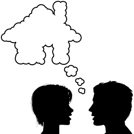 A silhouette couple hold talk about their dream home in a house shaped speech bubble. Vector
