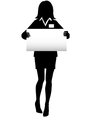 business graphics: A Business Woman Silhouette holds a copy space Sign and wears a name tag.