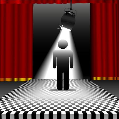 piso negro: Una persona de s�mbolo brilla en el centro de una etapa de tablero de ajedrez en el punto de mira con cortinas rojas.