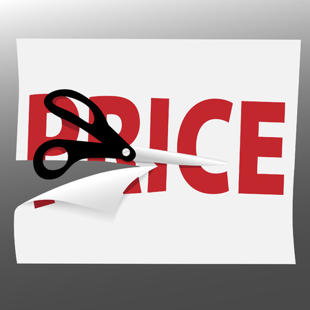 pair of scissors: A pair of black utility scissors cut a red PRICE for a sale on a page curl.
