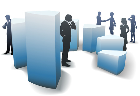 Business men and women work and network amid a group of bar graph shapes. Ilustração
