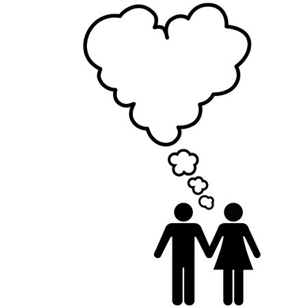 A Couple hold hands and share thoughts of Love and Romance in a Heart shape speech bubble.