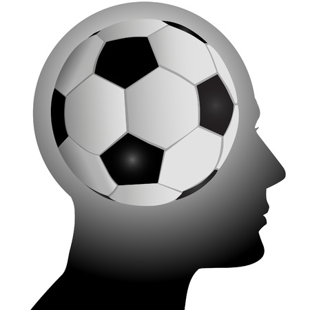 he: A football soccer fan has a header in mind as he thinks about sports.
