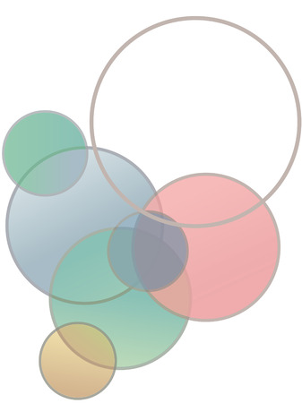 A Stained glass circles bubble up in this abstract background with an empty copy space sphere.