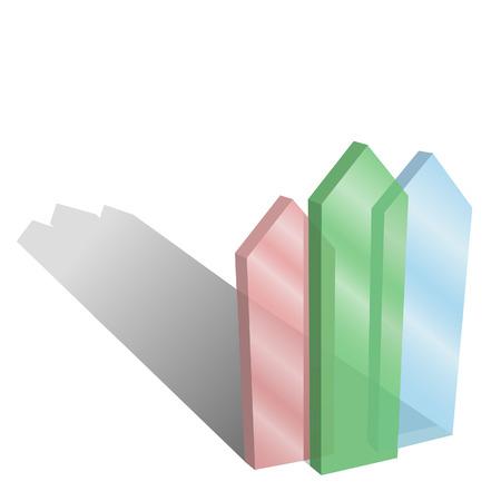 赤い緑と青い光沢のあるガラス矢印上向き指します。