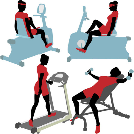 Fitness women in exercise gym work out on treadmill, bike, and barbells. Vector