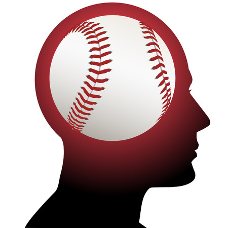 obsession: A fan has baseball in mind as he thinks about sports. Illustration