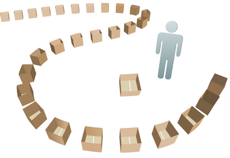 shipper: A business Shipper and a Shipping carton line of open empty boxes to fill. Illustration