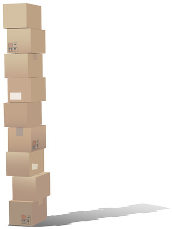 A tall stack of shipping carton boxes with a shadow. Ilustração