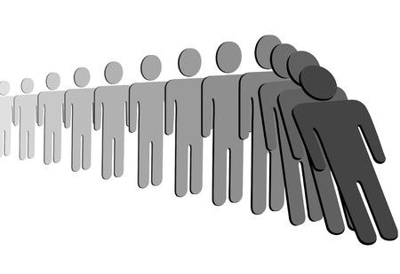 Een rij van symbool mensen vallen als domino stenen in een domino-effect.