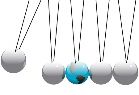 chain reaction: Earth in danger in a Newtons Cradle business desktop toy.
